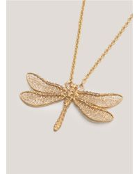 Alexander McQueen Metallic Dragonfly Skull Necklace