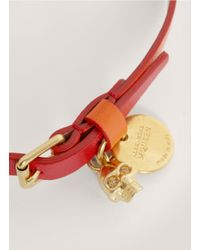 Alexander McQueen | Red Two-tone Leather Wrap Bracelet | Lyst