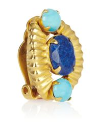 Bounkit Blue Goldplated Turquoise and Lapis Lazuli Clip Earrings