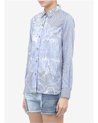 Current/Elliott - Blue X Mary Katrantzou Printed Cotton Shirt - Lyst