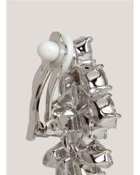 CZ by Kenneth Jay Lane - Metallic Crystal Leaf Clip Earrings - Lyst