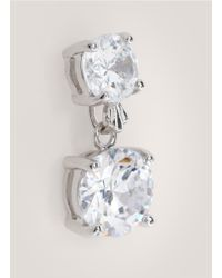 CZ by Kenneth Jay Lane | Metallic Double Cubic-zirconia Earrings | Lyst