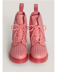 Dr. Martens Pink Spike Studded Lace-up Boots