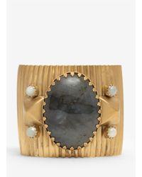 Ela Stone | Metallic Large Stone Brass Cuff | Lyst