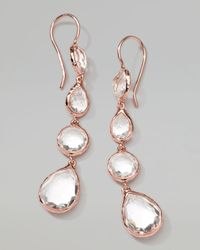 Ippolita Pink Rose Rock Candy Multishape Drop Earrings Clear Quartz