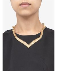 Kenneth Jay Lane - Metallic V-shape Panel Necklace - Lyst