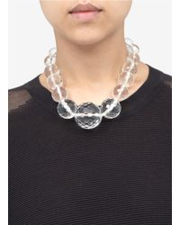 Kenneth Jay Lane White Large Clear Bead Necklace