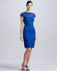 ML Monique Lhuillier Blue Lace Sheath Cocktail Dress