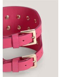 Valentino - Purple Rockstud Leather Bracelet - Lyst