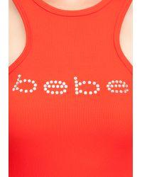 Bebe - Red Logo Deep Cut Racerback Tank - Lyst