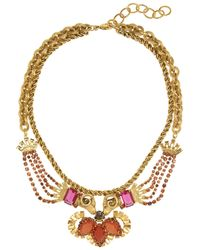 Elizabeth Cole | Metallic Kissing Ram Gold-Plated Swarovski Crystal Necklace | Lyst