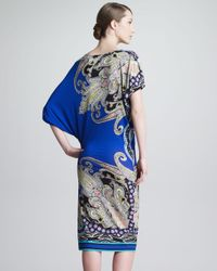 Etro Blue Draped Paisleyprint Dress Royalmulti