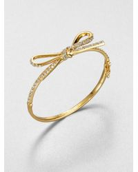 kate spade new york | Metallic Pavé Bow Bracelet | Lyst