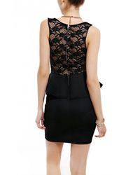 AKIRA Lace Bust Scuba Peplum Dress in Black