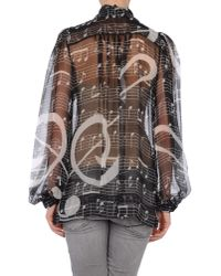 Dolce & Gabbana Black Tulip Print Sheer Silk Chiffon Shirt