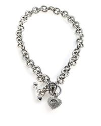 Juicy Couture - Metallic Pave Heart and Toggle Luxe Necklace - Lyst