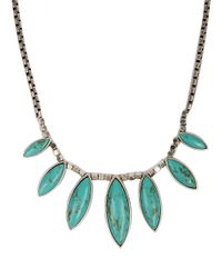 Lucky Brand - Green Silvertone Faux Turquoise Collar Necklace - Lyst