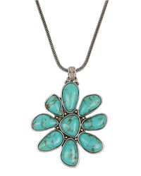 Lucky Brand - Blue Silvertone Faux Turquoise Floral Pendant Necklace - Lyst