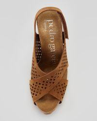 Pedro Garcia Brown Noor Perforated Crisscross Suede Sandal Tobacco