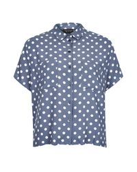 TOPSHOP - Blue Casual Crop Polka Dot Shirt - Lyst