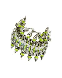 TOPSHOP - Green Premium Rhinestone Spike Bracelet - Lyst