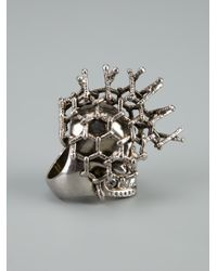 Alexander McQueen Metallic Mesh Skull Ring