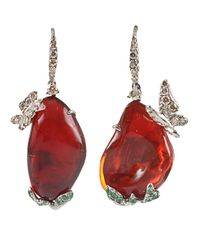 Arunashi | Red Opal And Diamond Butterfly Earrings | Lyst