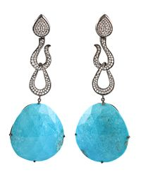 Bochic - Blue Double Loop Drop Earring - Lyst