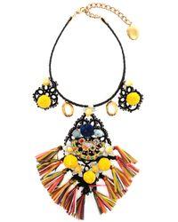 Dolce & Gabbana | Metallic Embellished Raffia Charm Necklace | Lyst