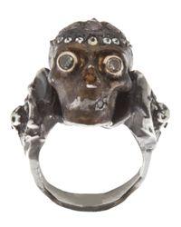 Stones Of Character | Metallic Diamonds Skull Ring for Men | Lyst