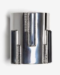 Ben-Amun - Metallic Striped Gunmetal Cuff - Lyst