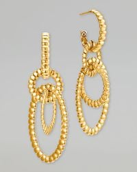John Hardy | Metallic Bedeg 18k Gold Circle Hoop 3drop Earrings | Lyst
