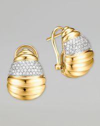 John Hardy | Metallic Bedeg 18k Gold Diamond Pave Buddha Belly Earrings | Lyst