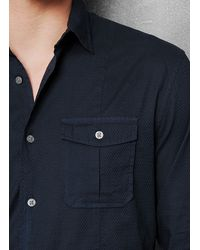 John Varvatos Blue Slim Fit Military Shirt for men