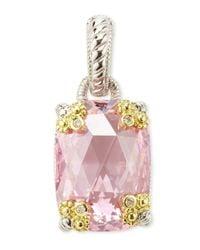 Judith Ripka - Pink Crystal Cushioncut Clipon Pendant - Lyst