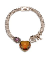 Mawi | Pink Crystal Panther and Heart Necklace | Lyst
