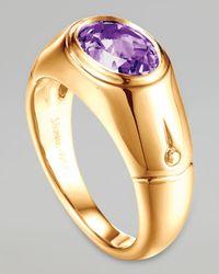 John Hardy - Metallic Batu Bamboo 18k Gold Amethyst Signet Ring Size 7 - Lyst