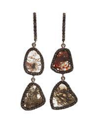 Monique Péan - Brown Diamond Slice Black Pave Diamond Twotier Earrings - Lyst