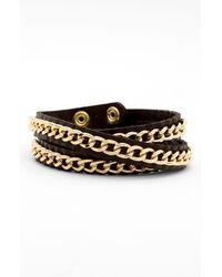 Tasha | Metallic Leather Wrap Bracelet | Lyst