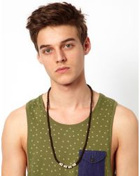ASOS - Brown Long Necklace with Skull Beads for Men - Lyst