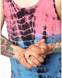 ASOS Metallic Skool Ov Jenius By Lovebullets Onyx Stone Ring Exclusive To for men