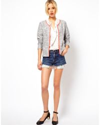 ASOS - Gray Blazer in Textured Boucle with Fluro Binding - Lyst