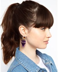 ASOS Purple Triangle Stone Drop Earring