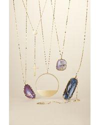 Lana Jewelry | Metallic Stone Gold Oblong Pendant Necklace | Lyst