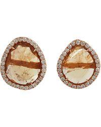 Monique Pean Atelier - Orange Yellow Tourmaline Slice Diamond Stud Earrings - Lyst