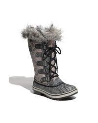 Sorel | Black Glacy Explorer Waterproof Suede And Canvas Faux Fur-lined Ankle Boots | Lyst