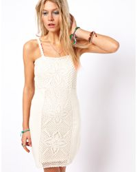 ASOS - Natural Crochet Panel Mini Dress - Lyst