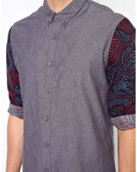 ASOS - Gray Chambray Shirt with Contrast Sleeves for Men - Lyst