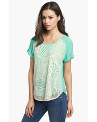 Ella Moss | Green Lace Front Tee | Lyst