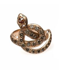 Ileana Makri | Metallic 'berus 18k Rose Gold And Diamond Snake Ring | Lyst